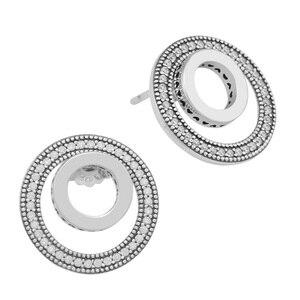 Image 2 - Forever Handtekening Oorbellen Clear Cz 925 Sterling Zilveren Sieraden Voor Vrouw Make Up Mode Vrouwelijke Oorbellen Partij Sieraden