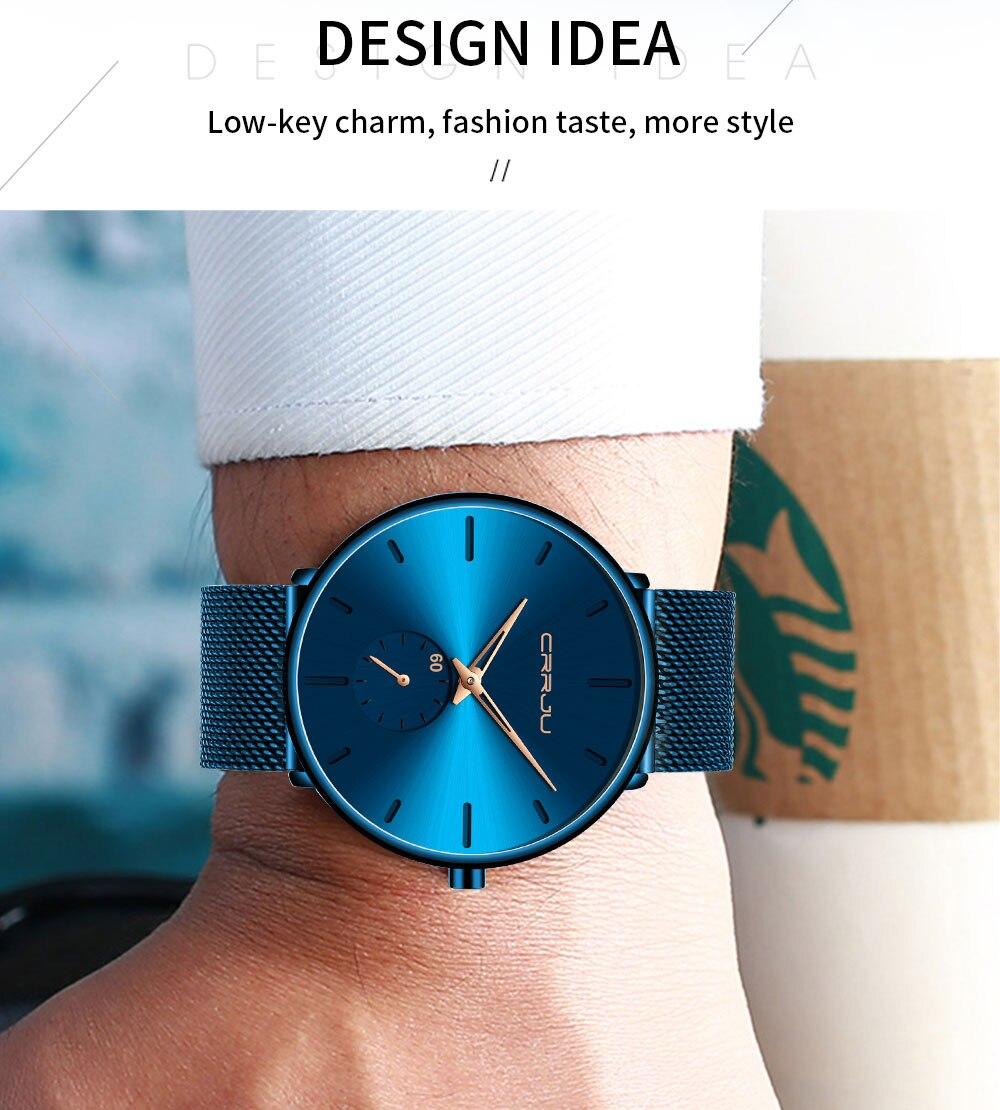 H3492902bd7e246109d616209930ffe39w CRRJU Ultra Thin Blue Stainless steel Quartz Watches Men Simple Fashion Business Japan Wristwatch Clock Male Relogio Masculino