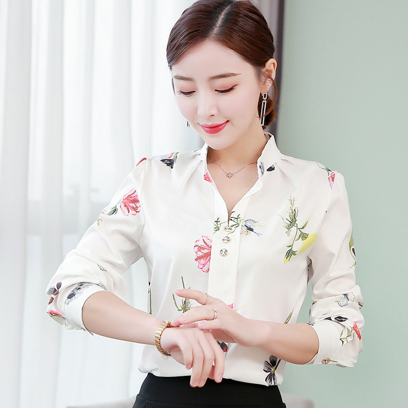 Casual Blusa Women Shirt Turn Down Collar Chiffon Blouse Long Sleeve Floral Print Blouses Office Lady Work Shirts Korean Camisas