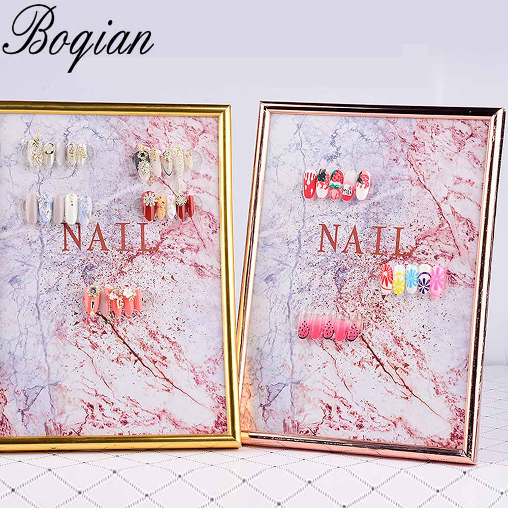 BQAN Nail Color Card Marble Style Magnet Adsorption Card Display Board Detachable False Nails For Nail Gel Polish Display Book