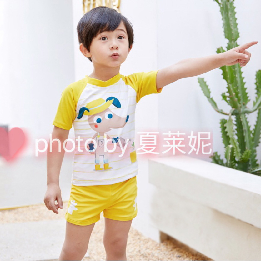 Ying Le KID'S Swimwear Men's Small CHILDREN'S 4-9-Year-Old Men's Young Children Short Sleeve Split Type Two-Piece Set Tour Bathi