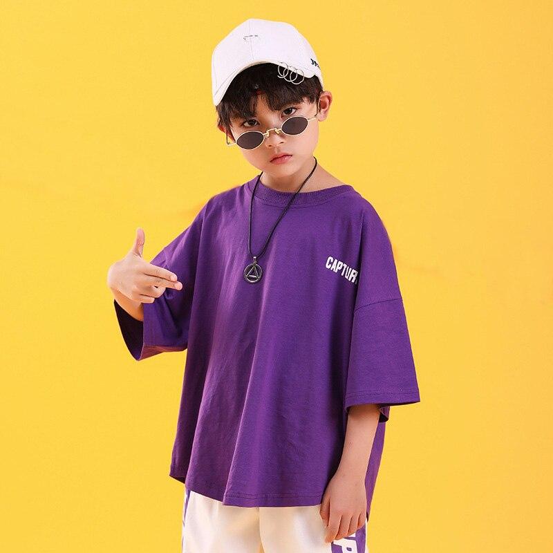 Детская одежда в стиле хип-хоп свободная футболка большого размера повседневные штаны для девочек и мальчиков, одежда для джазовых танцев костюмы, одежда для бальных танцев - Color: purple top