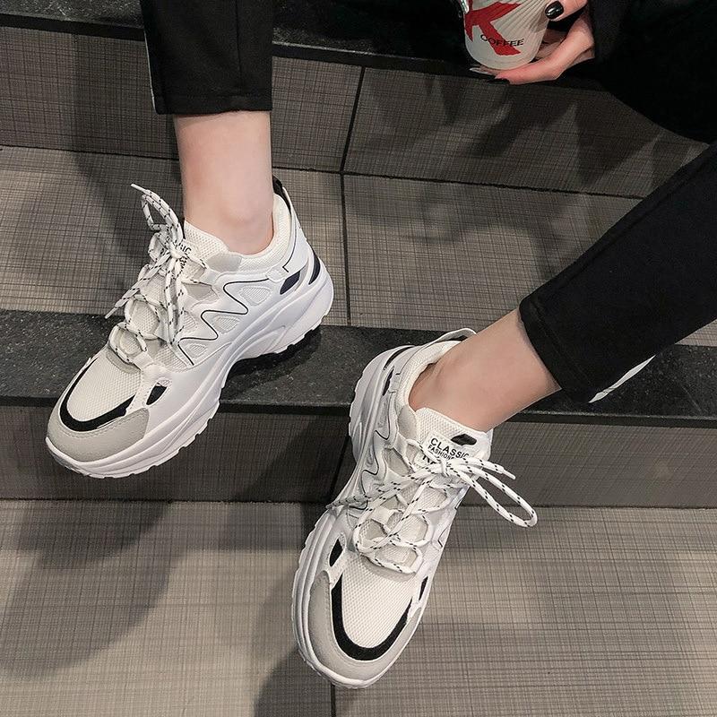 Autumn Winter Sport Shoes Woman Leopard Print 5cm Platform Walking Sneakers Women Outdoor Running Shoes Height Increasing A513 55