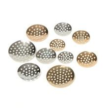 50pcs broche Metal redondo bisel Base ramo cordón a agujeros de cabujón en blanco bandeja para DIY broches joyas hacer
