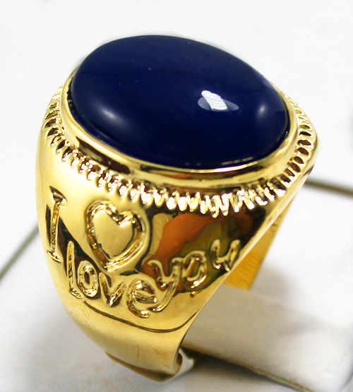 R00007 ใหม่แฟชั่น 18K Gold Plated DARK BLUE แหวนหยก 5.29