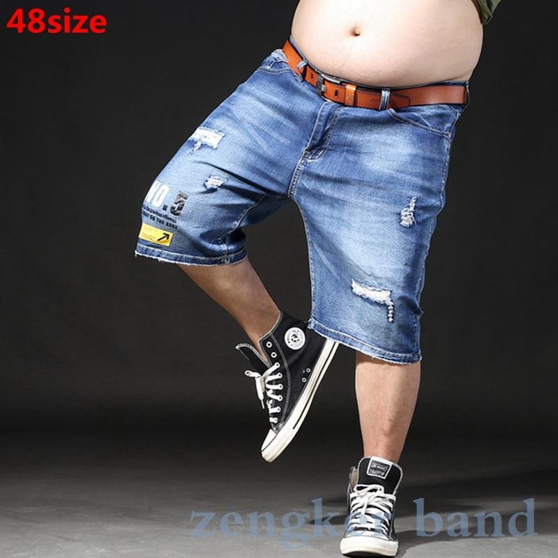Summer New Plus Size XL Men's Denim Shorts Old Hole Retro Loose Big Guy Men  6xl 7xl  Mens Casual Shorts