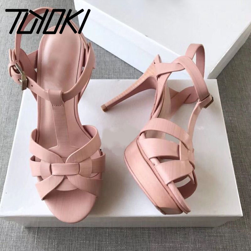 Tuyoki Real Leather Women Sandals High Heels Brand New Designer Shoes For Women Sexy Platform Office Footwear Size 34-41