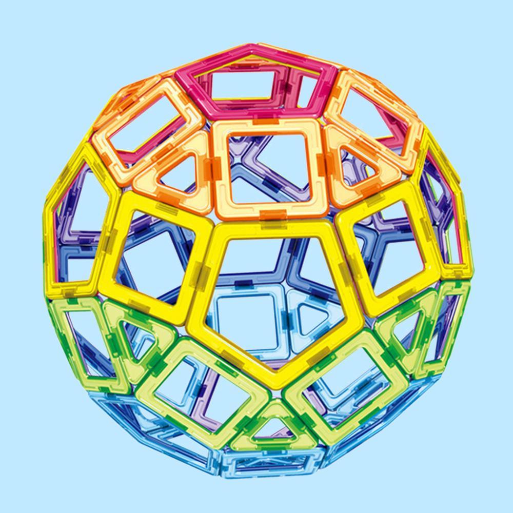 62pcs Plastic Triangle Square Pentagon Magnetic Building Blocks Stacking Bricks Building Construction Magnet Jigsaw Model Toy