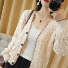 2021 autumn new solid color cardigan knitted coat button sweater loose large foreign style with hollow out thin style