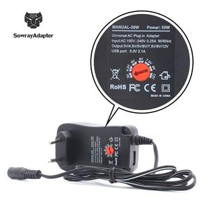 Image 5 - Универсальный адаптер 12V 3V 4,5 V 5V 6V 7,5 V 9V 2A 2.5A Регулируемый адаптер питания AC/DC зарядное устройство для Светодиодный светильник 30W