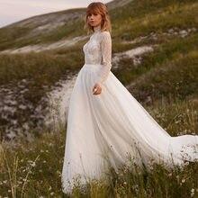 Скромные свадебные платья с высоким воротом и длинным рукавом