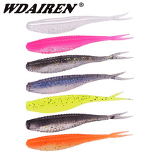 10pcs/Lot Saltwater Fishing Soft Lures 7cm 1.8g Worms Wobblers Minnow Silicone Artificial Bait Bass Tackle Forktail Jigs Leurre
