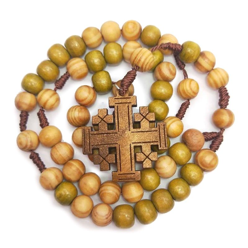 Jesus Wooden Prayer Beads 10mm Rosary Cross Necklace Pendant Woven Rope Chain Church Supplies Jewelry Accessories E65B