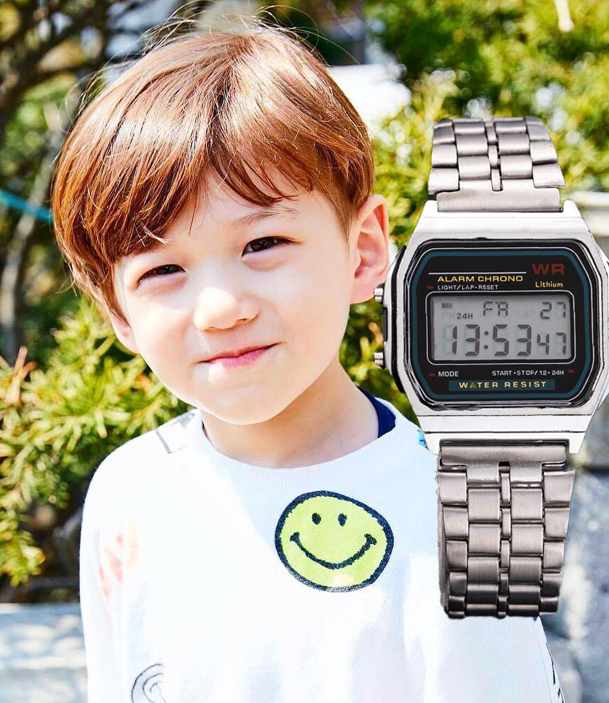 Kids Watches Boys Digital Watch Kids LED Gold Silver Stainless Steel Dial Clock Montre Enfant Garcon Analogique Numerique