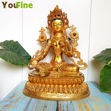 Bronze Buddha statues, Buddhist offerings, high-grade stickers, golden green mother statues