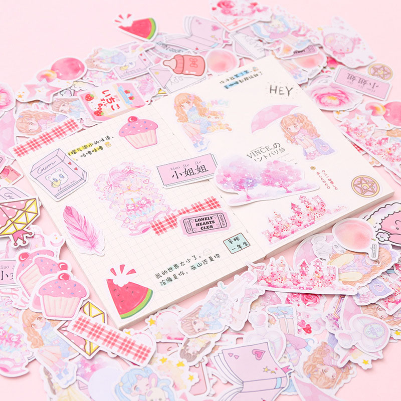 200PCS Cute Blue Whale Unicorn Stickers Kawaii Pink Cartoon Decor Stationery Paper Sticker For Kids Scrapbooking Diary Supplies