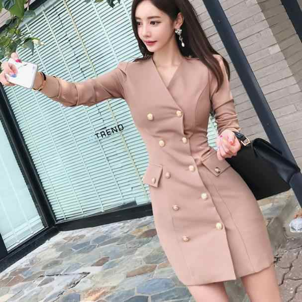 2019 Sexy V Neck Sheath Blazer Women Office Dress Autumn Double-Breasted Long Sleeve Bodcyon Pencil Short Work Dress LJ53