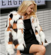 XS/6XL Womens Short Faux Fur Jackets Section Female Large Size Sexy Mixed Color Fake Coats Man-Made Outwear K702