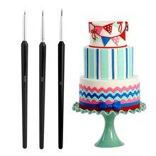 3 sztuk ciasto pióra dekorujące pędzel farby Cupcake Sugarcraft kremówka Pen narzędzia deser dekoracja ciasta narzędzie do pieczenia formy naklejka