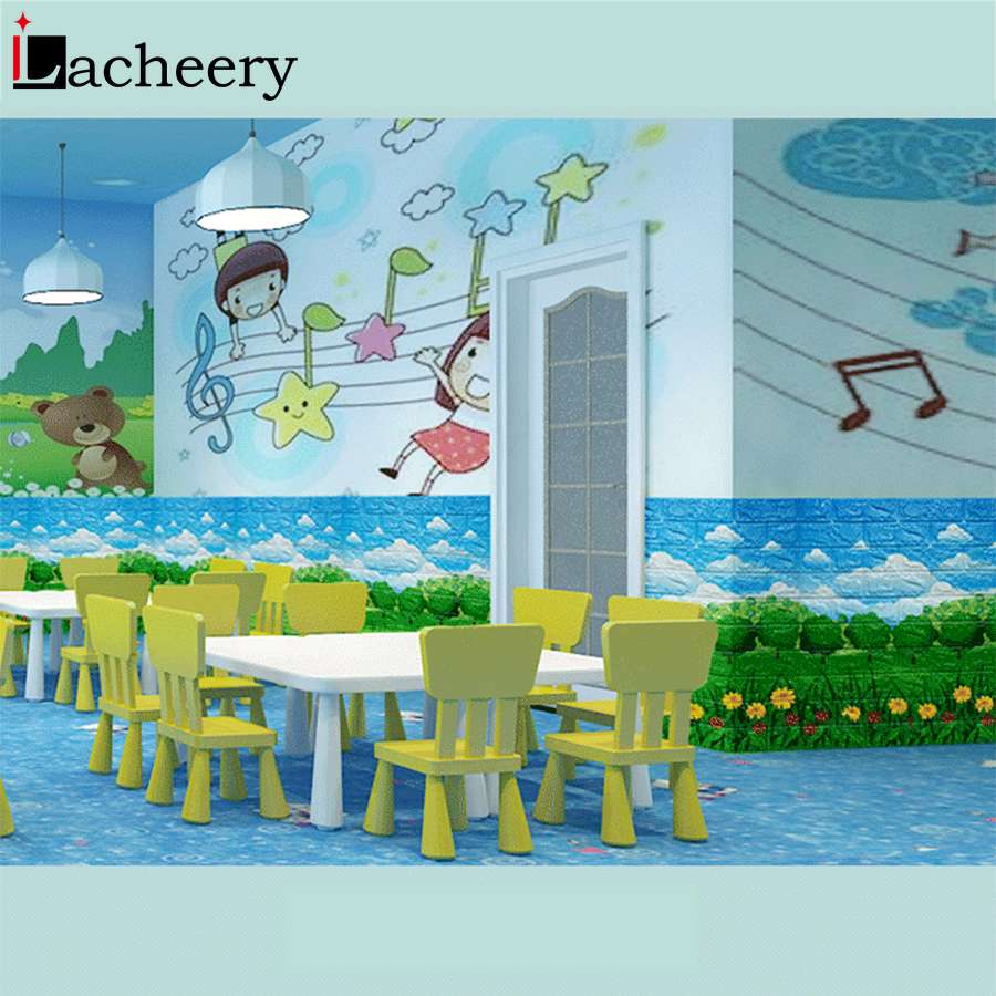 PE Foam Wall Stickers Cartoon 3D Embossed Brick Wallpaper Self Adhesive Film Bedroom Decor Anti collision Soft Bag Wall Panels in Wallpapers from Home Improvement
