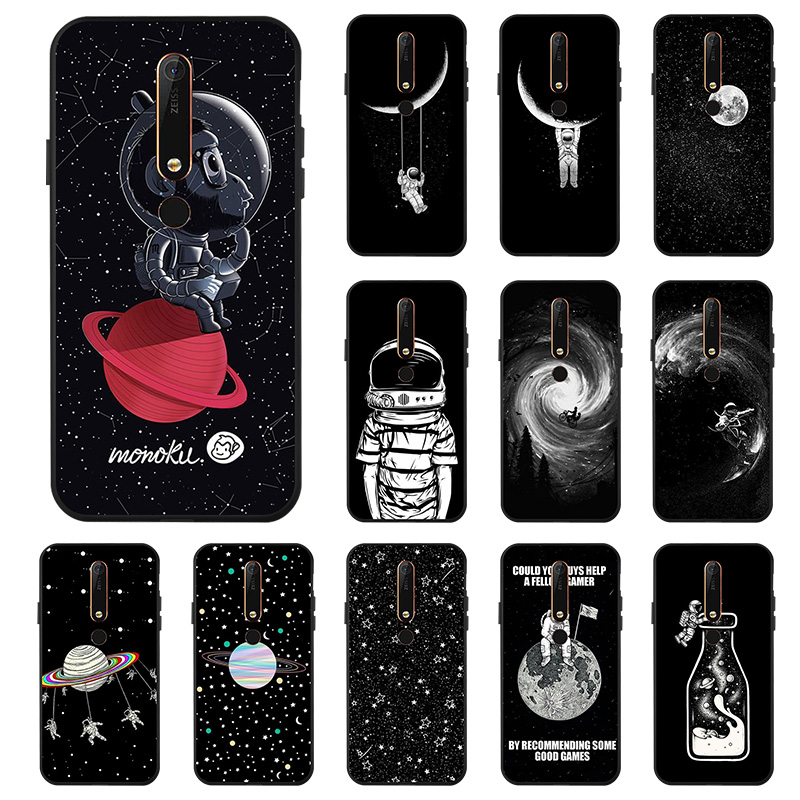 Black Painted <font><b>Case</b></font> For <font><b>Nokia</b></font> 8 6 2018 6.1 <font><b>7.1</b></font> 3.1 Plus 2.1 <font><b>Case</b></font> Matte Silicone Starry sky Moon Cover for <font><b>Nokia</b></font> 7 9 PureView <font><b>Case</b></font> image