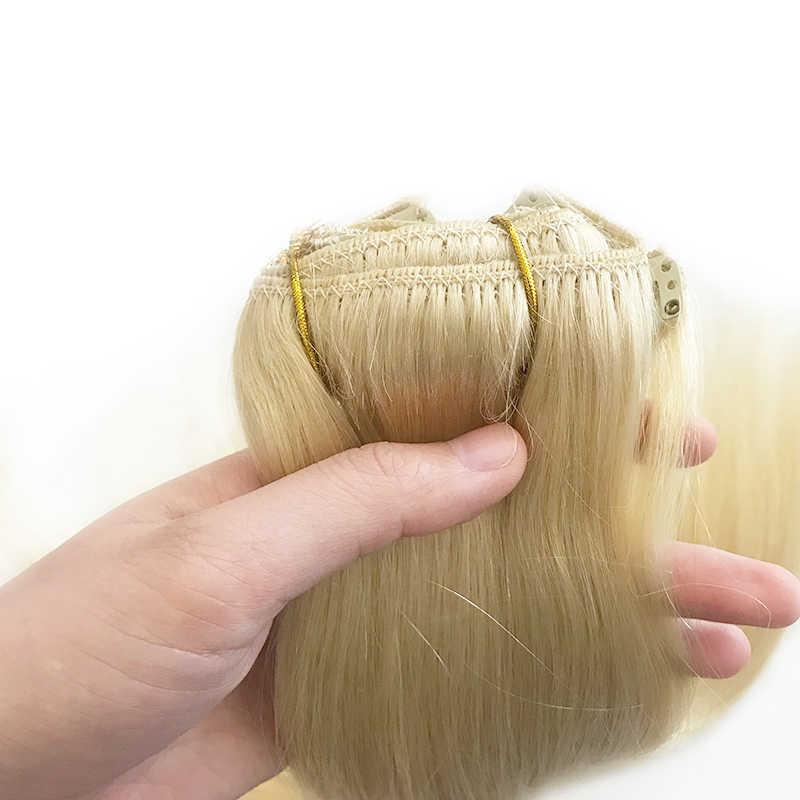 70g 100g 120g klip w doczepy z ludzkich włosów brazylijski doczepiane proste włosy #1 # 1B #4 #8 #613 #27 12 cal-24 cal 7 sztuk/zestaw na całą głowę
