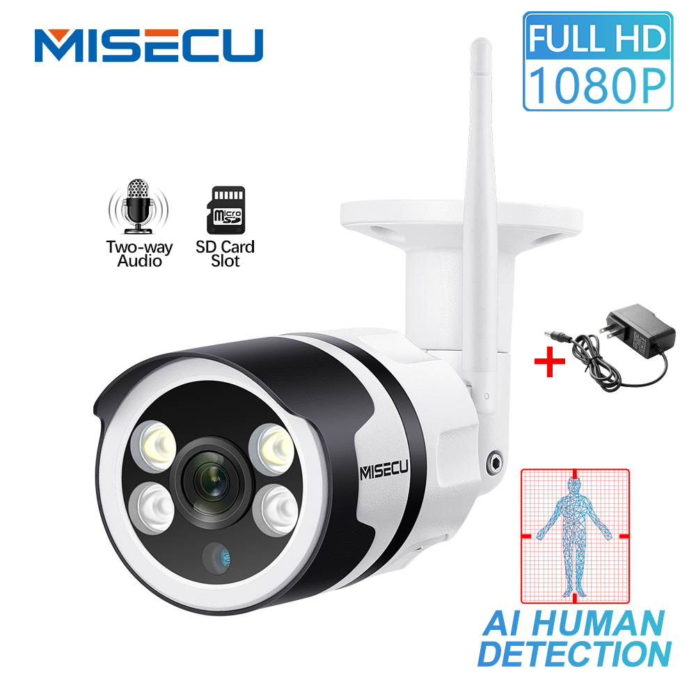 MISECU H.265 1080P WIFI IP Camera AI Human Detection Two way Audio Outdoor P2P Full Color Night Vision P2P 2.0MP Wireless Wired-in Surveillance Cameras from Security & Protection