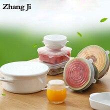 Zhang Ji 6 pcs Silicone Stretch Lids Preservation Kitchen refrigerator storage Self tightening 2.6-8.1 inch food grade reusable