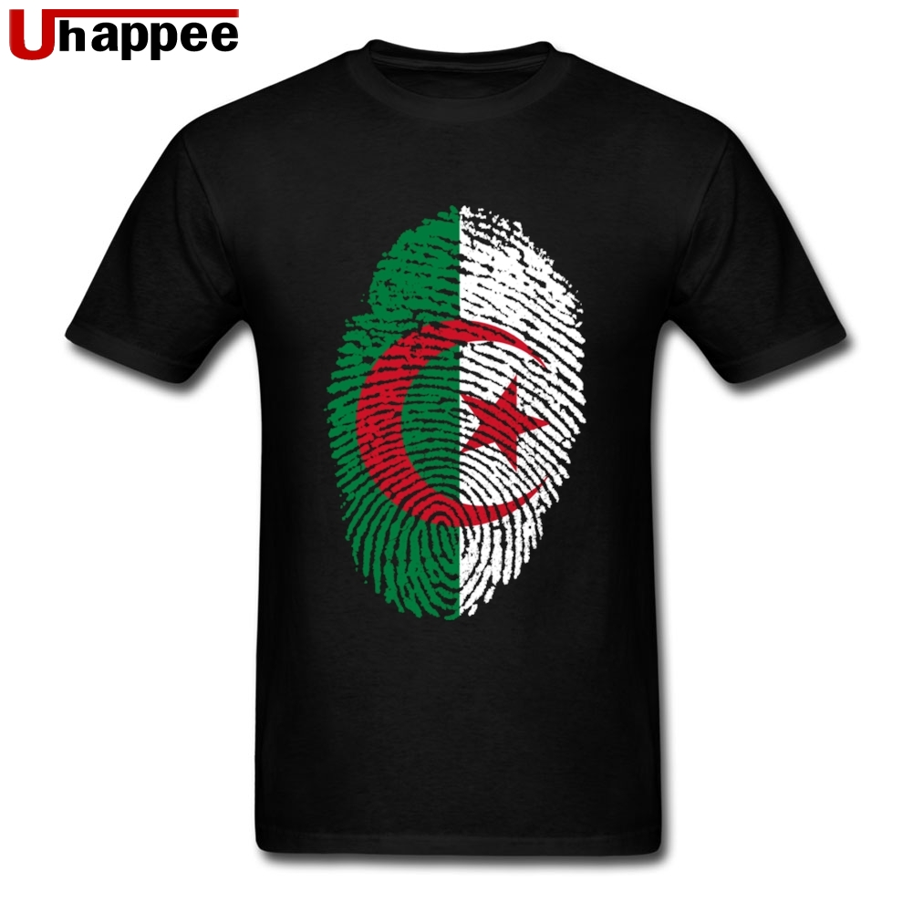 Fitness Algeria Flag Fingerprint Tee Shirts Mens Cool Vintage Boyfriend And Girlfriend  Tees Shirts