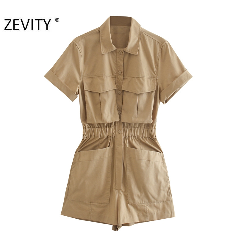 ZEVITY New women solid color pockets decoration safari playsuits lady elastic waist Conjoined shorts chic siamese rompers DS4302