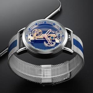 Image 4 - Vintage Automatic Mechanical Watches Men Tourbillon Transparent Skeleton Dial Self wind Steel Leather Steel Man Wristwatch Clock