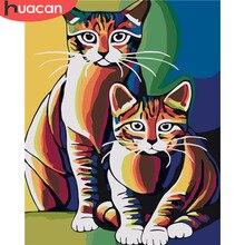 HUACAN Раскраска по номерам кошка животные наборы холст для рисования расписанные вручную самодельные картины картина маслом украшение дома искусство