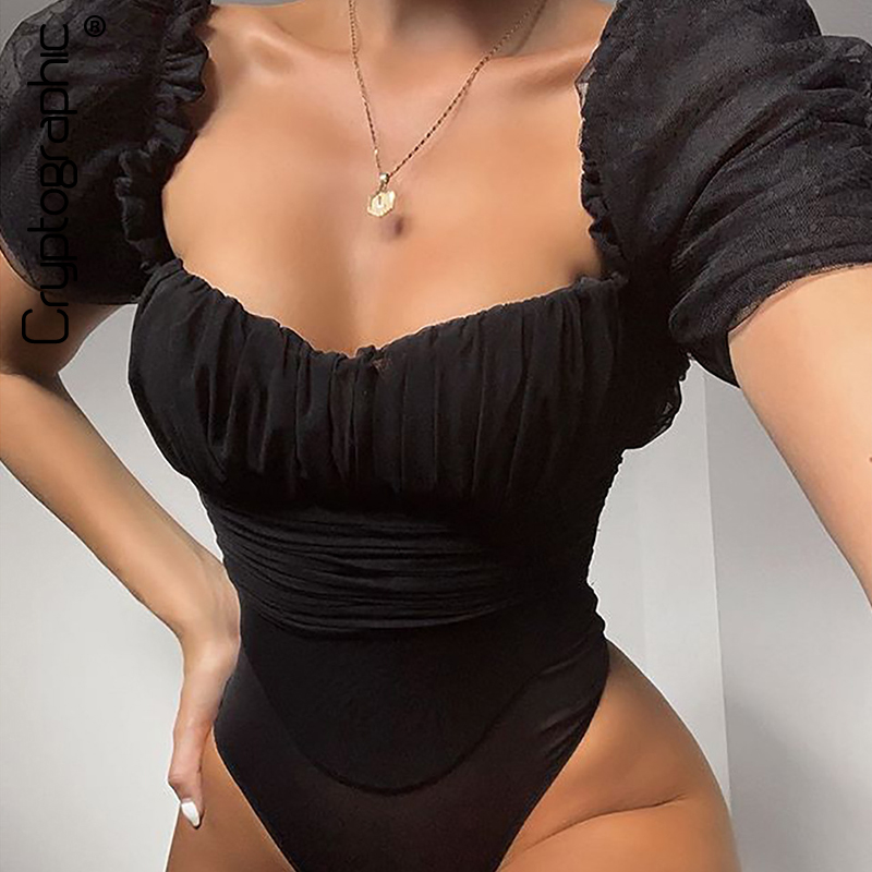 Cryptographic Square Collar Sexy Hollow Out Mesh Bodysuit Women Tops See Through Fashion Party Club Puff Sleeve Black Bodysuits