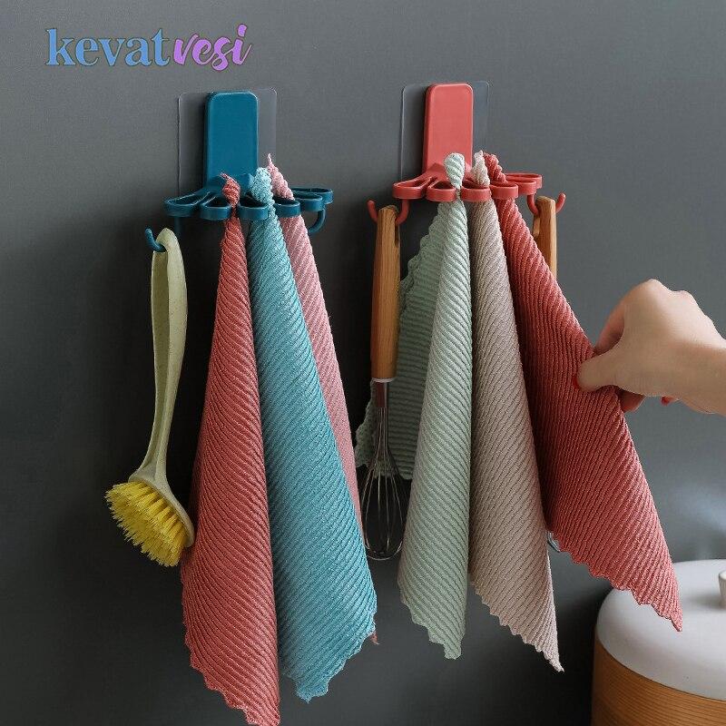 Flower-shaped Towel Hanger with Hooks Wall-mounted Kitchen Bathroom Storage Rack Spatula Holder Towel Rack Bathroom Organizer
