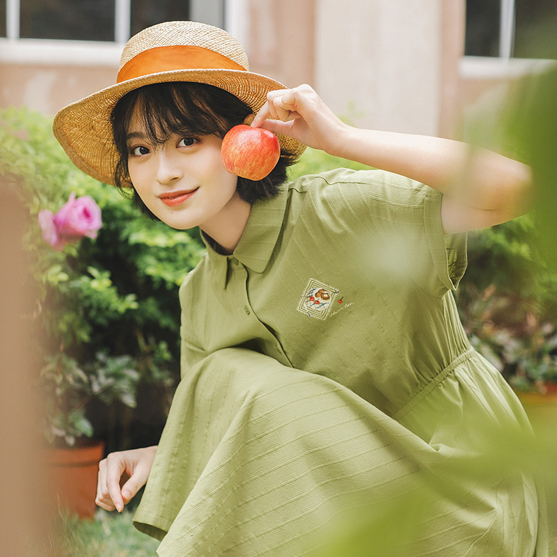 INMAN 2020 Summer New Arrival Korean Style Cotton Polo Collar Cute Fruit Print Short Sleeve Dress