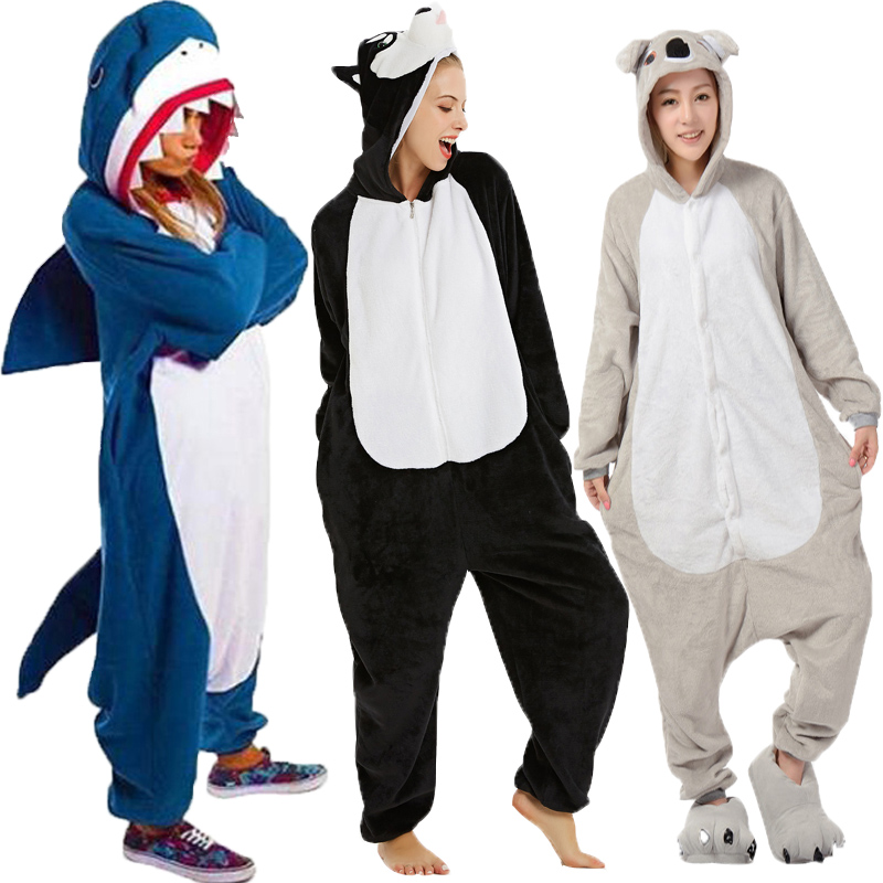 2019 Onesie Wholesale Animal Kigurumi Stitch Unicorn Onesies Adult Unisex Gray Koala Shark Hooded Sleepwear Winter Flannel
