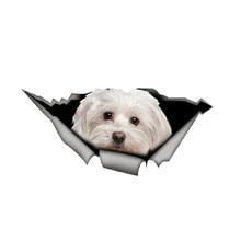 13cm x 6cm Cute Maltese Car Sticker Pet Dog Car Decoration Torn Metal Decal Reflective Sticker Waterproof Car Styling