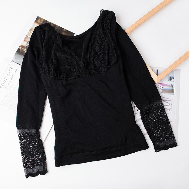 Bottoming Large Size Lace Long Sleeve Long Winter Women Sexy Thermal Underwear Top Women Body Shaped Slim Ladies Intimate
