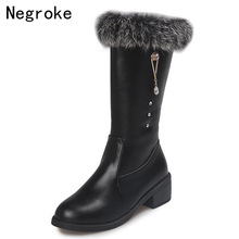 Women's Boots 2019 Winter Warm Rabbit Fur Plush Snow Boots Block Low Heels Mid-calf Winter Shoes Black Leather Botas Mujer 2019 classic suede snow boots women warm thick fur lined winter shoes black high quality zipper low heels ladies mid calf boots