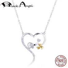 Original Design Real 925 Sterling Silver CZ Lovely Elephant Clover in Heart Pendant Necklaces for Women Fine Jewelry real 925 sterling silver alphabet o zircon pendant necklaces for women cz geometric wedding fine jewelry