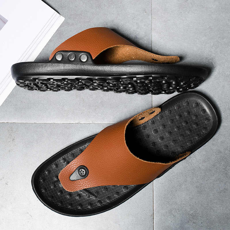 Mens Casual Summer Sandals HHF Flat Sandals /& Slippers Flip Flops with Toe Ring Beach Leisure Slippers Anti-Slip Breathable Elastic PU Leather Upper Shoes