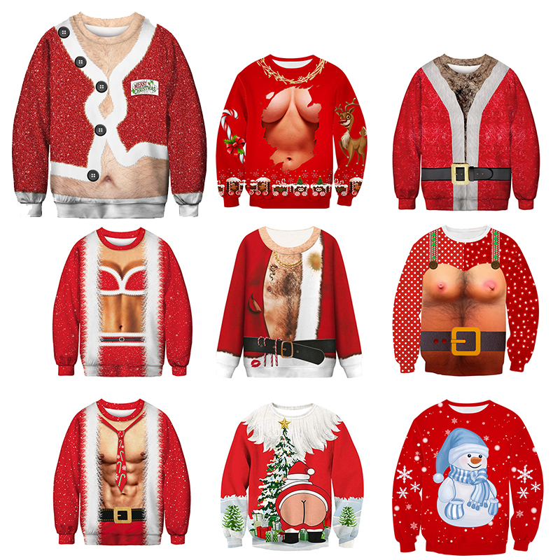 New Funny Men's Sweater Pull Homme Ugly Christmas Sweater Santa Claus 3d Loose Hoodie Men Women Christmas Sweater Men