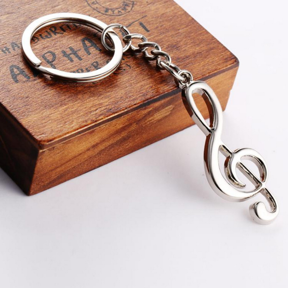 New Key Chain Key Ring Silver Plated Musical Note Keychain For Car Metal Music Symbol Key Chains image