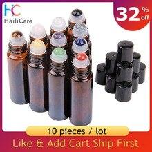 10 Uds 10ml ámbar gema de cristal botella de rodillo para aceite esencial ámbar marrón Roll On botellas aromaterapia cristall tubo de perfume