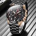 LIGE, новые часы для мужчин, лучший бренд, Роскошные мужские часы, спортивные, полностью из нержавеющей стали, водонепроницаемые, бизнес кварц...