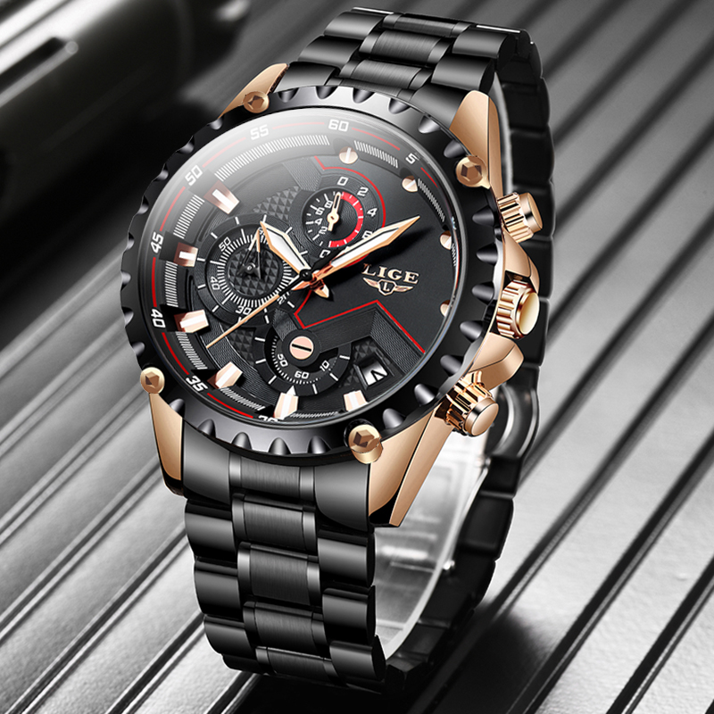 LIGE New Watch Men Top Brand Luxury Mens Watches Sports Full Stainless Steel Waterproof Business Quartz Watch Relogio Masculino