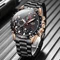Nuevo reloj LIGE para hombre, marca de lujo, relojes deportivos de acero inoxidable, resistente al agua, reloj de cuarzo, reloj Masculino