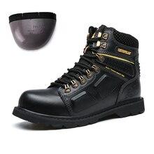 Beste Verkauf Arbeits Sicherheit Schuhe Für Männer Plus Größe Leder Stiefel Männer Stahl Kappe Mann Arbeit Stiefel Luxus Marke Military combat Boot