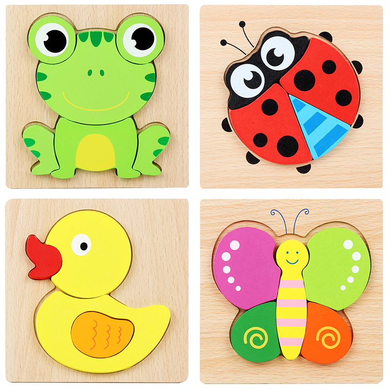 Hot Sale Wooden Toys 3d Puzzle Solid Wood Baby Handheld Jigsaw Puzzles Safety Wood Wooden Toy Children Educatonal Toys 3
