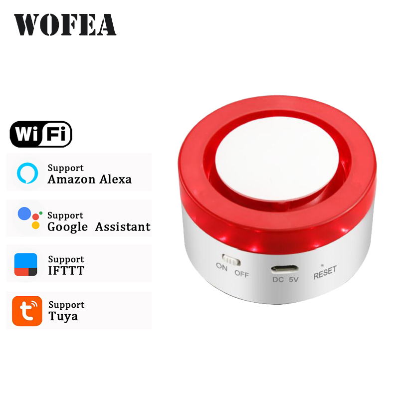Wofea WiFi Strobe Siren Work With Tuya Door Sensor PIR Water Sensor Compatible W Alexa Google Home IFTTT Tuya APP